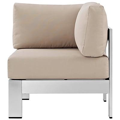 Shore Outdoor Patio Aluminum Corner Sofa in Silver Beige (889654064954)