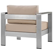 Shore Outdoor Patio Aluminum Armchair in Silver Beige (889654065036)