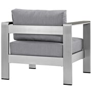 Shore Outdoor Patio Aluminum Armchair in Silver Gray (889654065043)