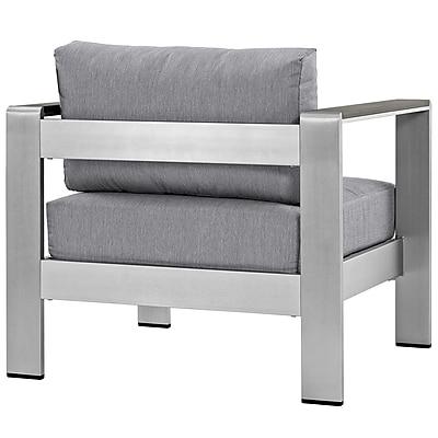 Shore Outdoor Patio Aluminum Armchair in Silver Gray (889654065043)