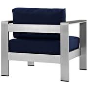 Shore Outdoor Patio Aluminum Armchair in Silver Navy (889654065050)
