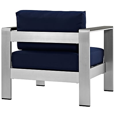 Shore Outdoor Patio Aluminum Armchair in Silver Navy (889654065050)
