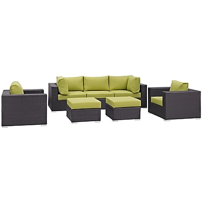 Modway Convene 7 Piece Outdoor Patio Sectional Set in Espresso Peridot (889654060468)