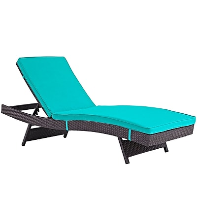 Convene Chaise Outdoor Patio Set of 4 in Espresso Turquoise (889654078395)