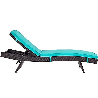 Convene Chaise Outdoor Patio Set of 2 in Espresso Turquoise (889654078333)