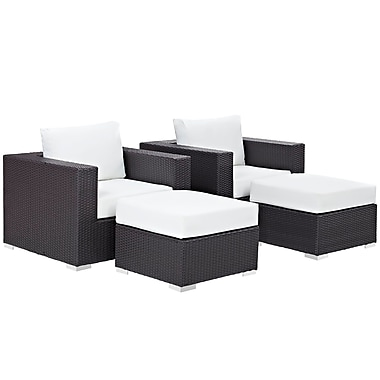 Convene 4 Piece Outdoor Patio Sectional Set in Espresso White (889654060635)