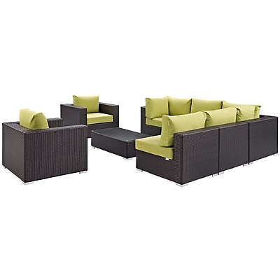 Convene 8 Piece Outdoor Patio Sectional Set in Espresso (889654060673)