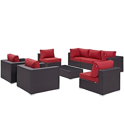 Modway Convene 8 Piece Outdoor Patio Sectional Set in Espresso Red (889654060680)
