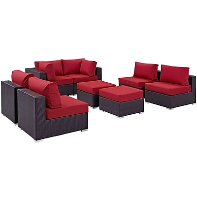 Modway Convene 8 Piece Outdoor Patio Sectional Set in Espresso Red (889654060758)
