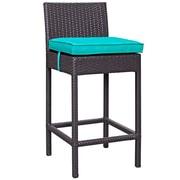Convene 5 Piece Outdoor Patio Pub Set in Espresso Turquoise (889654028017)