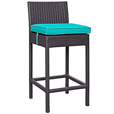 Convene 5 Piece Outdoor Patio Pub Set in Espresso Turquoise (889654028017)