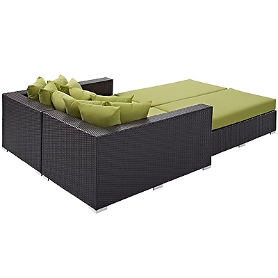 Convene 4 Piece Outdoor Patio Daybed in Espresso Peridot (889654044680)