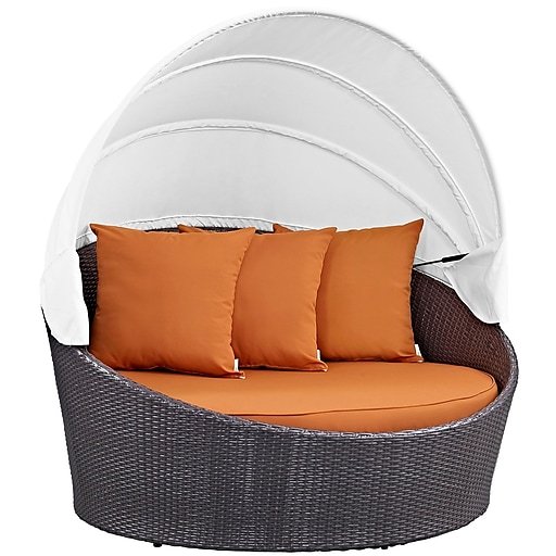 Modway Convene Canopy Outdoor Patio Daybed in Espresso Orange (889654045694)