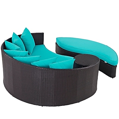Convene Outdoor Patio Daybed in Espresso Turquoise (889654045786)