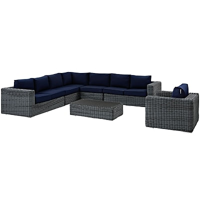 Summon 7 Piece Outdoor Patio Sunbrella® Sectional Set in Gray Navy (889654032137)