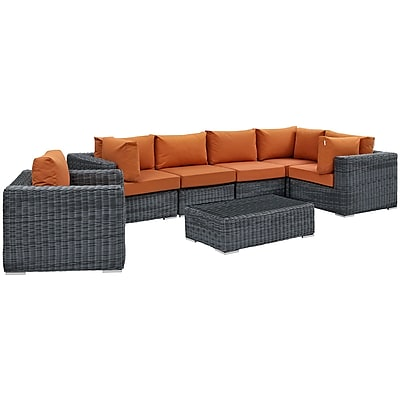 Modway Summon 7 Piece Outdoor Patio Sunbrella® Sectional Set in Canvas Tuscan (889654026242)