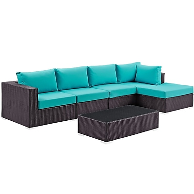 Modway Convene 5 Piece Outdoor Patio Sectional Set in Espresso Turquoise (889654045199)