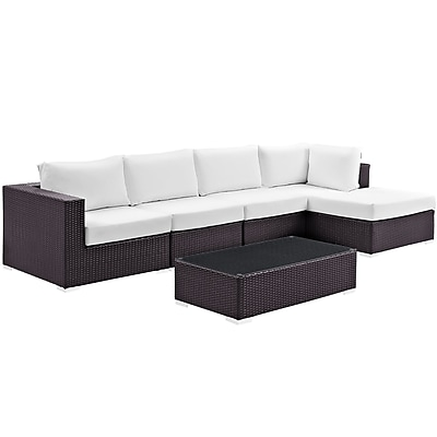 Modway Convene 5 Piece Outdoor Patio Sectional Set in Espresso White (889654045205)