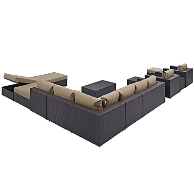 Convene 12 Piece Outdoor Patio Sectional Set in Espresso Mocha (889654045014)