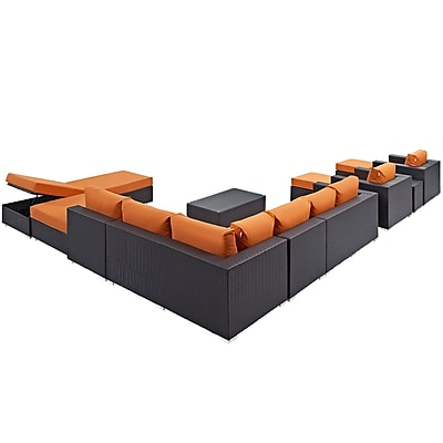 Convene 12 Piece Outdoor Patio Sectional Set in Espresso Orange (889654045021)
