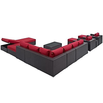 Convene 12 Piece Outdoor Patio Sectional Set in Espresso Red (889654045045)