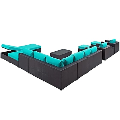 Convene 12 Piece Outdoor Patio Sectional Set in Espresso Turquoise (889654045052)