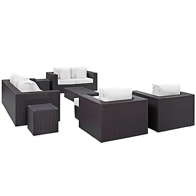 Convene 9 Piece Outdoor Patio Sofa Set in Espresso White (889654044789)