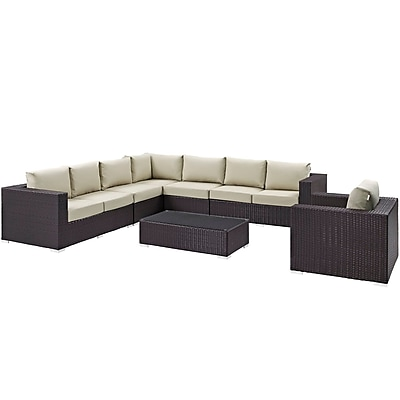Modway Convene 7 Piece Outdoor Patio Sectional Set in Espresso Beige (889654044796)