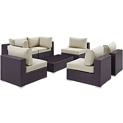 Modway Convene 7 Piece Outdoor Patio Sectional Set in Espresso Beige (889654044932)