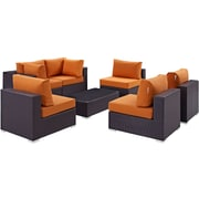 Modway Convene 7 Piece Outdoor Patio Sectional Set in Espresso Orange (889654044956)