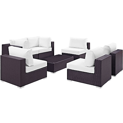 Modway Convene 7 Piece Outdoor Patio Sectional Set in Espresso White (889654044994)