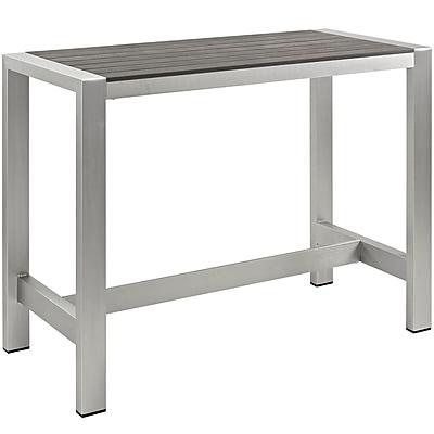 Modway Shore Outdoor Patio Aluminum Bar Table in Silver Gray (889654064787)