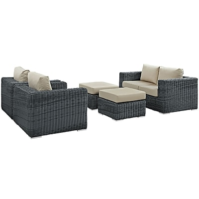Modway Summon 5 Piece Outdoor Patio Sunbrella® Sectional Set in Canvas Antique Beige (889654026259)