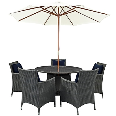 Modway Sojourn 7 Piece Outdoor Patio Sunbrella® Dining Set in Canvas Navy (889654064213)