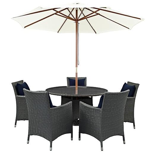 Modway Sojourn 7 Piece Outdoor Patio Sunbrella® Dining Set in Canvas Navy (889654064213)