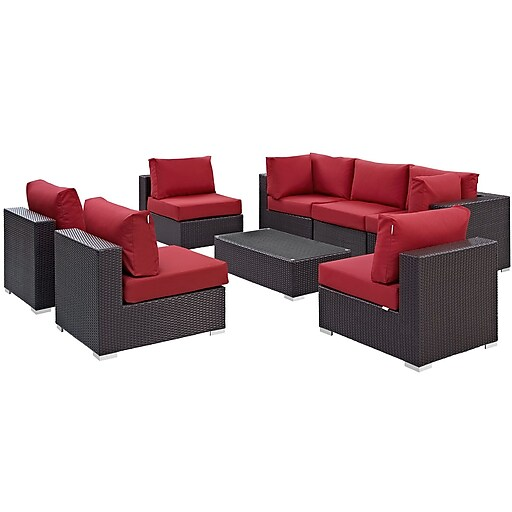 Modway Convene 8 Piece Outdoor Patio Sectional Set in Espresso Red (889654060826)