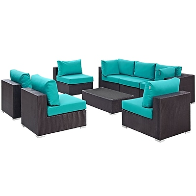 Modway Convene 8 Piece Outdoor Patio Sectional Set in Espresso Turquoise (889654060833)