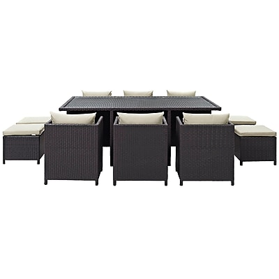 Reversal 11 Piece Outdoor Patio Dining Set in Espresso Beige (889654029342)
