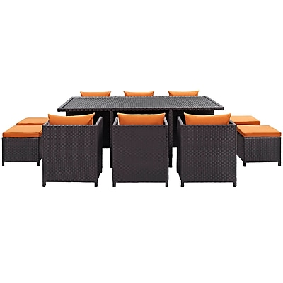 Reversal 11 Piece Outdoor Patio Dining Set in Espresso Orange (889654029366)