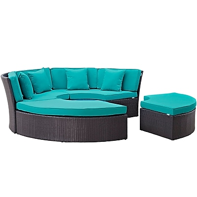 Convene Circular Outdoor Patio Daybed Set in Espresso Turquoise (889654045465)
