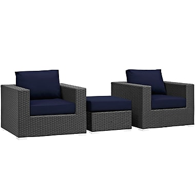 Modway Sojourn 3 Piece Outdoor Patio Sunbrella® Sectional Set in Canvas Navy (889654026204)