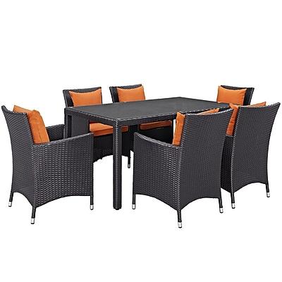 Modway Convene 7 Piece Outdoor Patio Dining Set in Espresso Orange (889654062769)