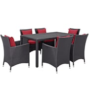 Modway Convene 7 Piece Outdoor Patio Dining Set in Espresso Red (889654062783)