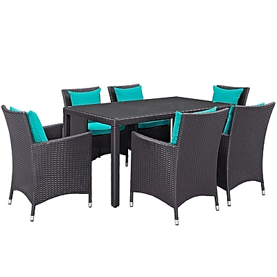 Modway Convene 7 Piece Outdoor Patio Dining Set in Espresso Turquoise (889654062790)