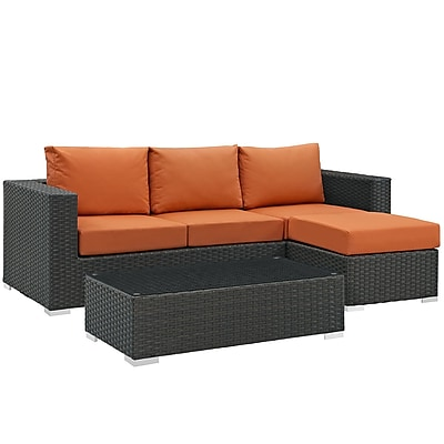 Modway Sojourn 3 Piece Outdoor Patio Sunbrella® Sectional Set in Canvas Tuscan (889654026150)