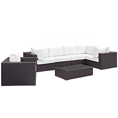 Modway Convene 7 Piece Outdoor Patio Sectional Set in Espresso White (889654044505)