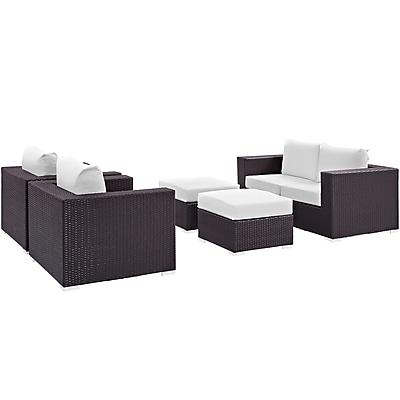 Convene 5 Piece Outdoor Patio Sofa Set in Espresso White (889654044574)