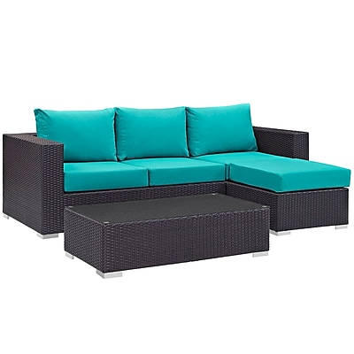 Modway Convene 3 Piece Outdoor Patio Sofa Set in Espresso Turquoise (889654045915)