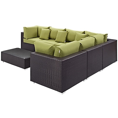 Convene 7 Piece Outdoor Patio Sectional Set in Expresso Peridot (889654045243)