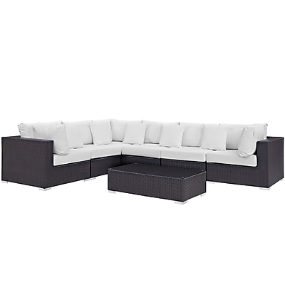 Modway Convene 7 Piece Outdoor Patio Sectional Set in Espresso White (889654045274)